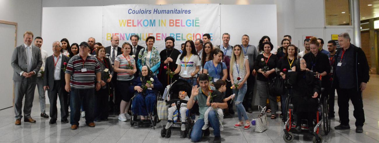 De tweede groep humanitaire vluchtelingen, na hun aankomst in Zaventem © Sant'Egidio