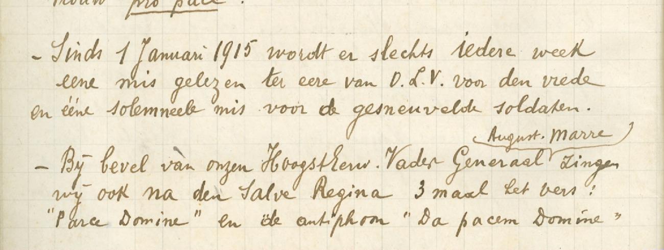 Pater Louis hield in zijn dagboek een lijst bij van gebeden in de kerk. © Sint-Sixtusabdij Westvleteren