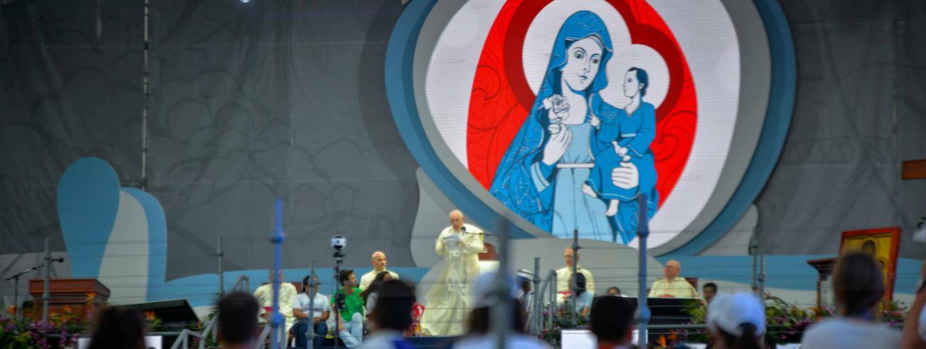 Paus Franciscus tijdens de avondwake van de Wereldjongerendagen op Campo San Juan Pablo II in Panama. © WJD Panama