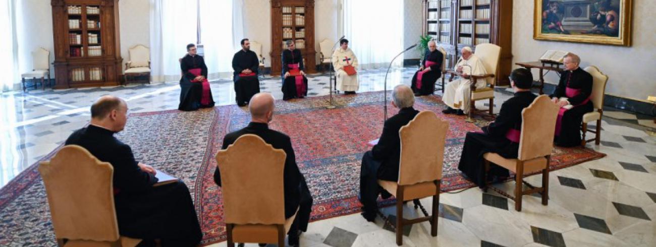 Paus Franciscus tijdens zijn audiëntie van vanmorgen © Vatican Media