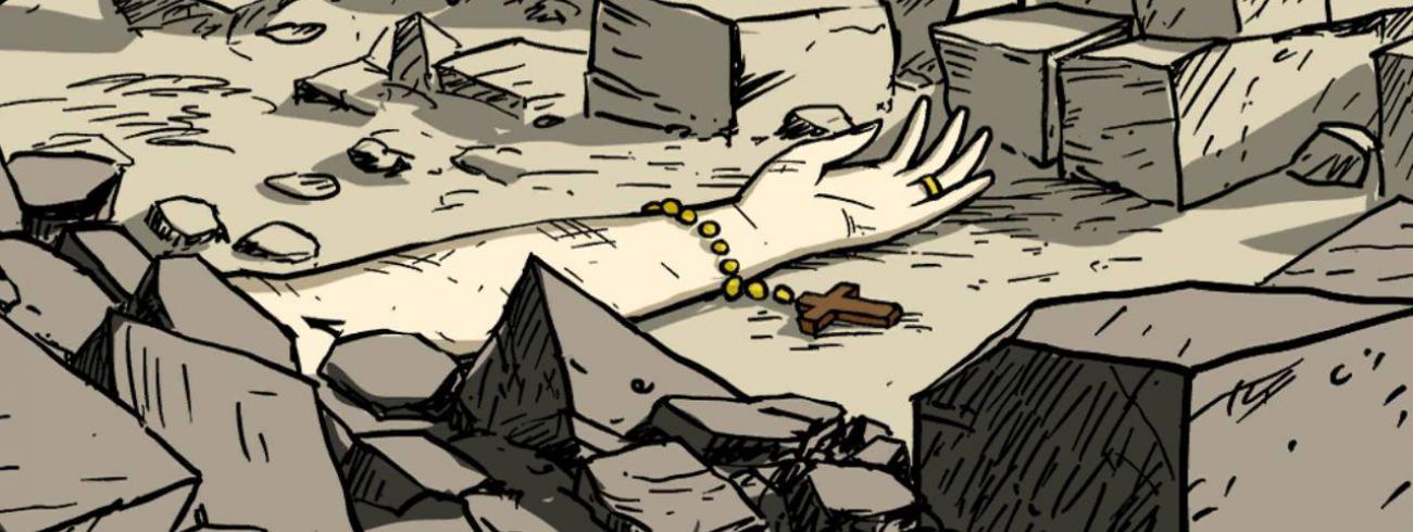 Schermafbeelding uit de videogame 'Valiant Hearts, the Great War'.