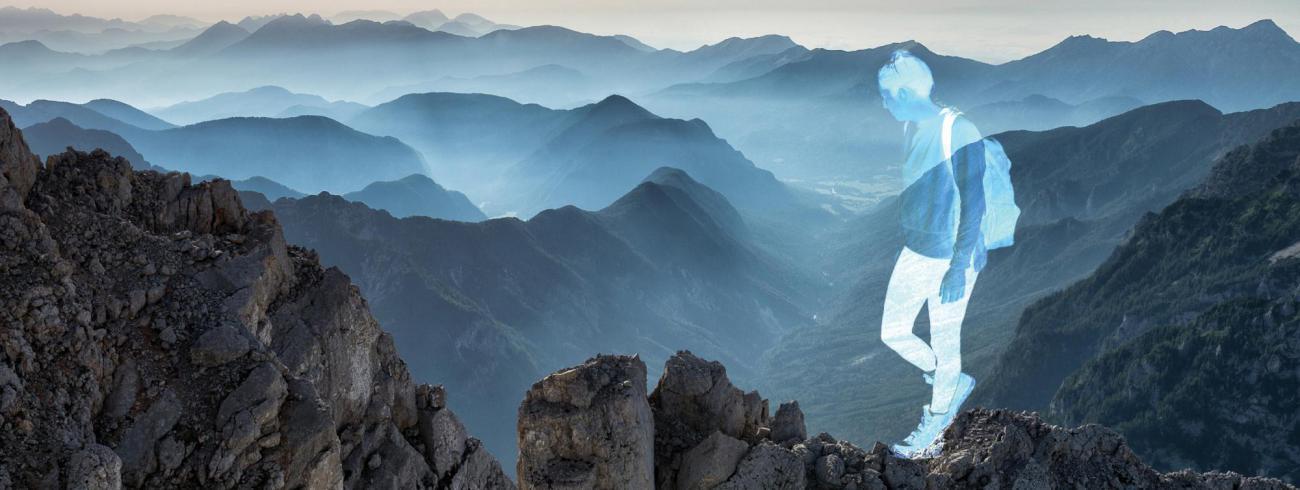 Beeld van de ignatiaanse vastenretraite 'Jezus ging de berg op'. © G. Roffel