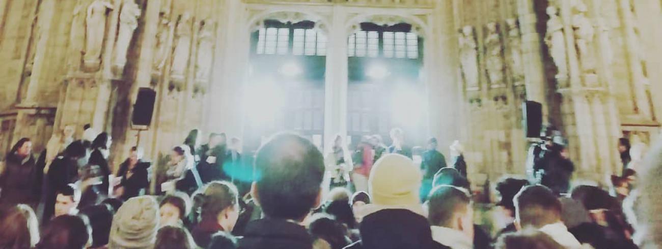 350 jongeren die niet naar Panama konden, maakten de unieke sfeer van de WJD mee tijdens de Nacht van Panama in de Zavelkerk. © IJD