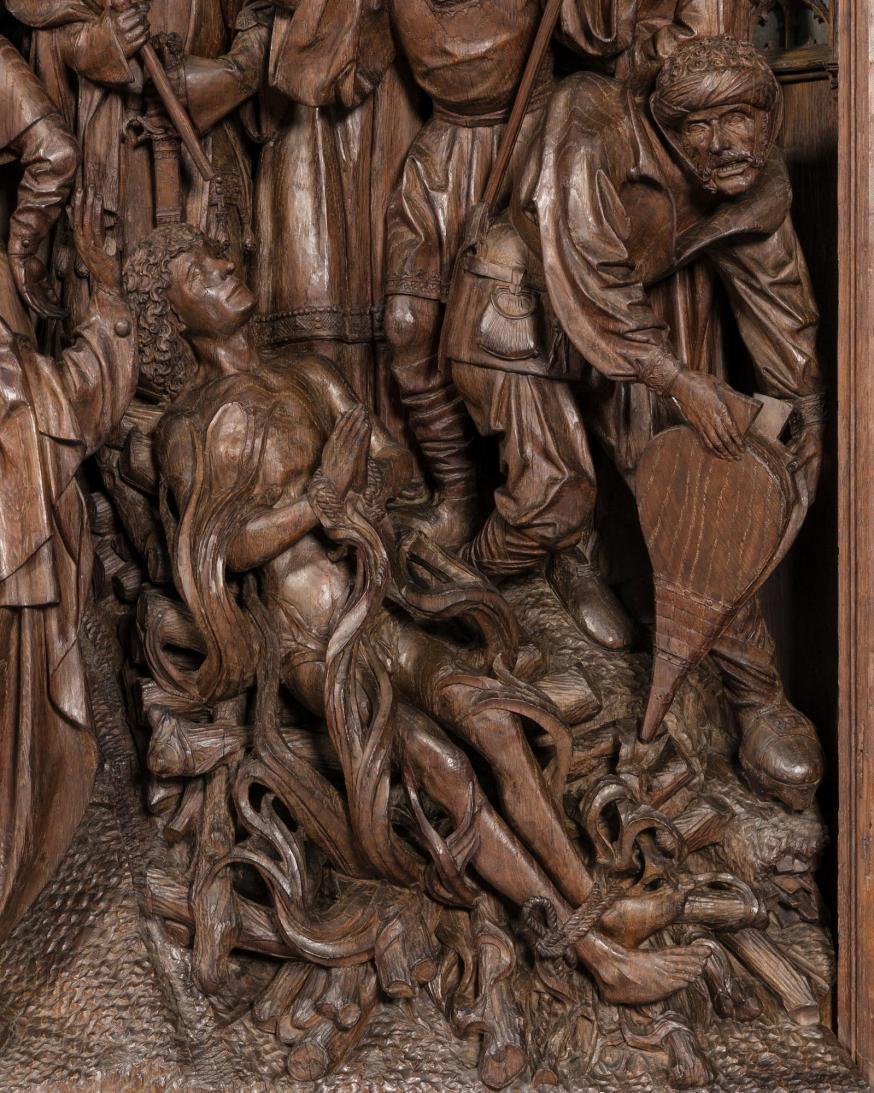 Detail van Sint-Joris die geroosterd wordt © KIK-IRPA