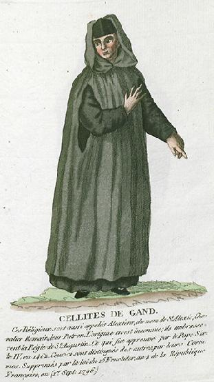 Afbeelding van een Gentse cellenbroeder met de karakteristieke zwarte kap © Wikipedia