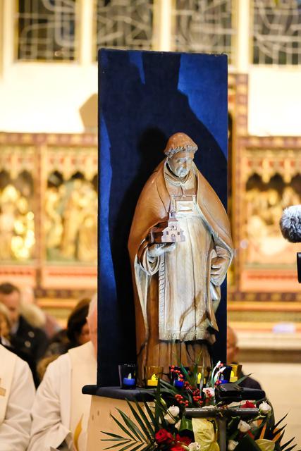 De heilige Trudo leefde in de 7de eeuw. Het kerkje dat hij stichtte, groeide uit tot een abdij en tot de stad Sint-Truiden.  © Trudofederatie