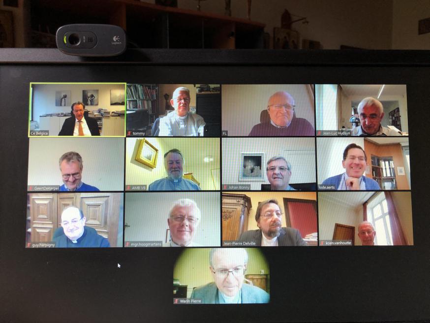 Screenshot van de videoconferentie van de bisschoppen © Tommy Scholtes