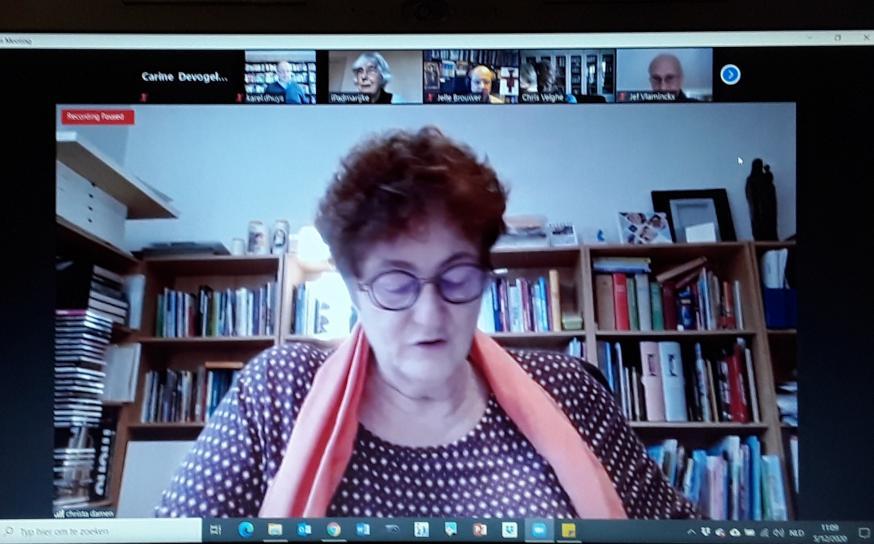 IPB-voorzitter Christa Damen tijdens de onlinebijeenkomst van het IPB-Forum © IPB
