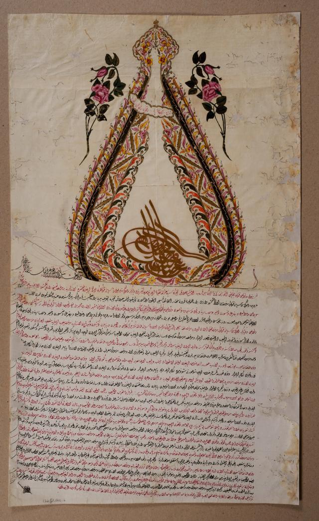 Decreet waarmee een Ottomaanse sultan in de achttiende eeuw een christelijk patriarch benoemt © MUba