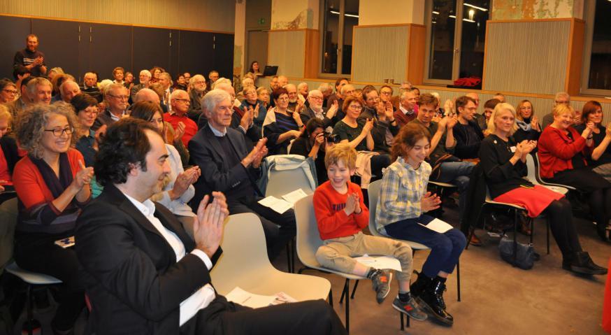 Er was veel belangstelling voor de bekendmaking van de Ambassadeurs voor de Vrede van Pax Christi Vlaanderen © Anne Vansteelandt