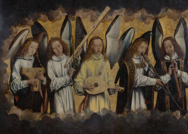 Op het linkerpaneel spelen de engelen psalterium, tromba marina, luit, trompet en schalmei. © KMSKA