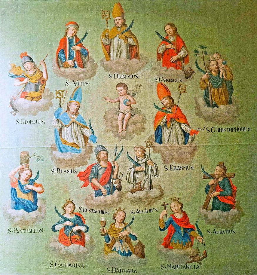 Schilderij van de 14 Heilige Helpers uit de 18de eeuw, Sint-Margarethakerk in Bruttig.