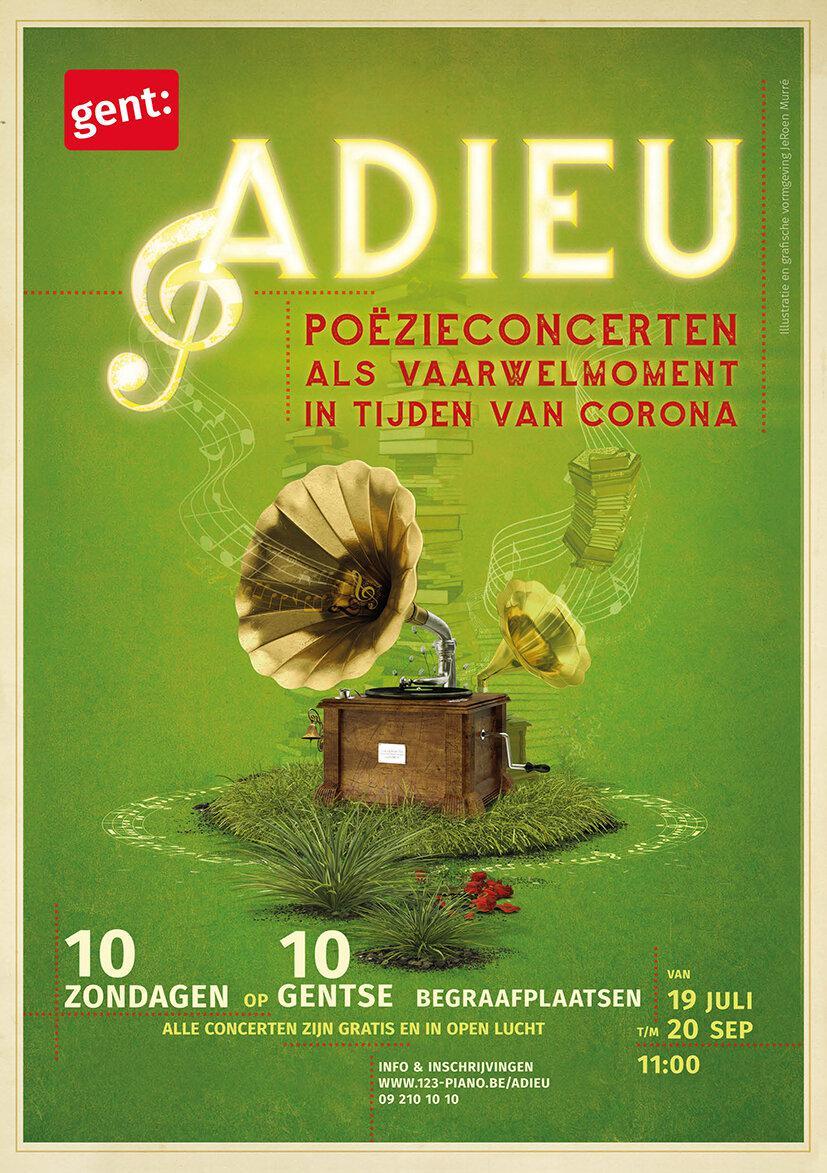 De affiche van de 'Adieu'-concerten. © Stad Gent / Poëziecentrum