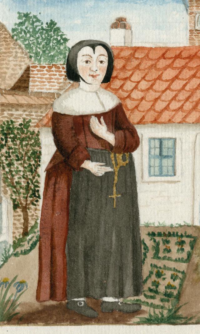 Aquarel met kledij van Gentse zusters maricolen in 1795. © Mudel