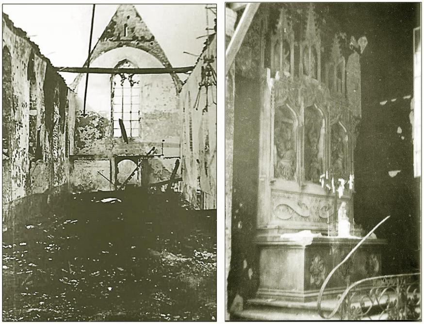 De middenbeuk en het altaar O.L.V. van Kerselare (gedeeltelijk gespaard gebleven)