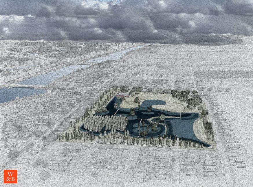 Geplande watertuin in New Orleans © Architecten Waggonner & Ball