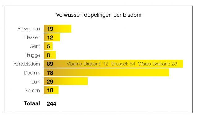 Het aantal volwassen dopelingen per bisdom © Tertio