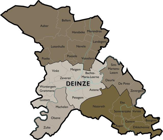 Kaart Dekenaat Deinze © Bisdom Gent