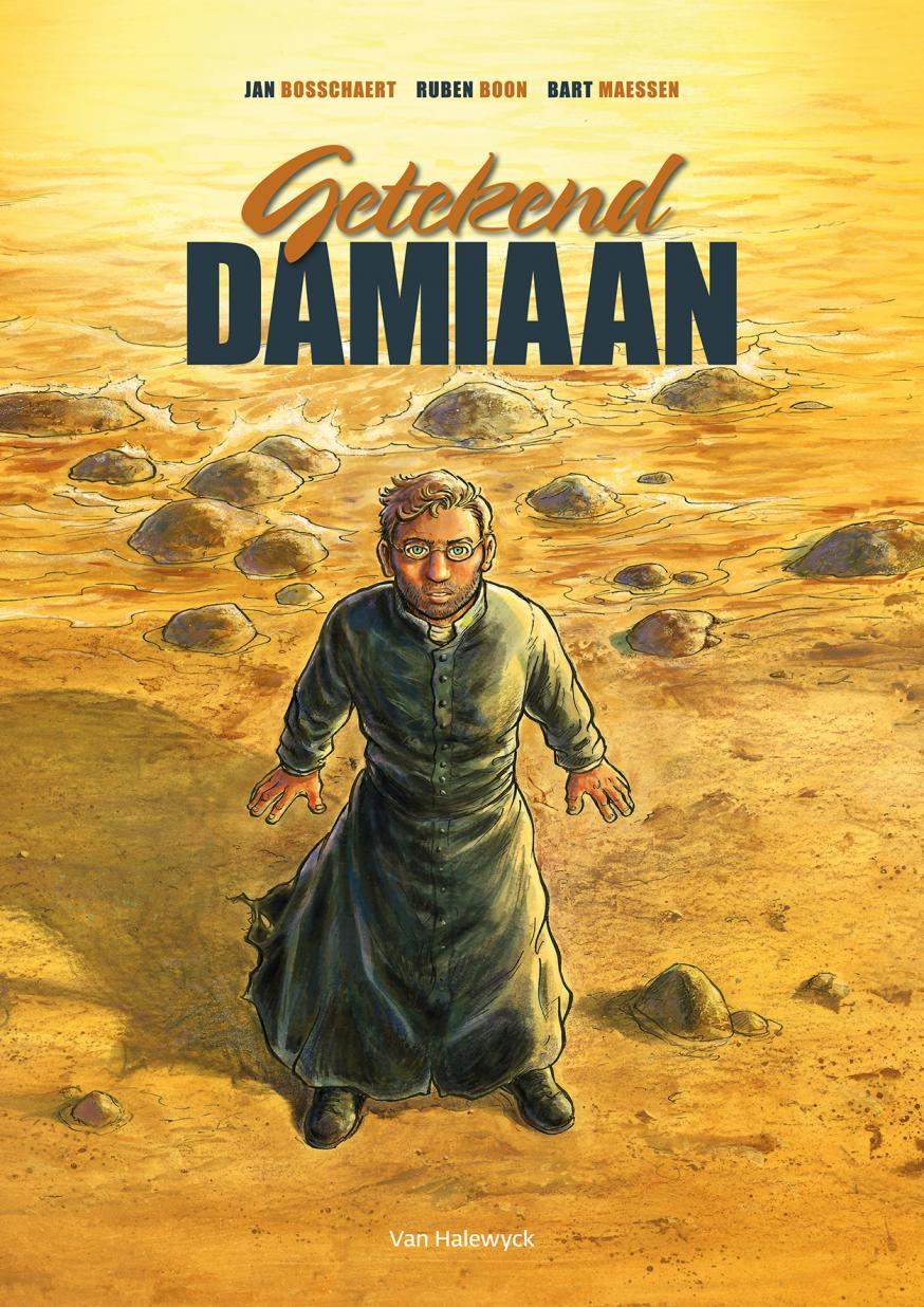 De cover van de Damiaanstrip © Uitgeverij Van Haleyck