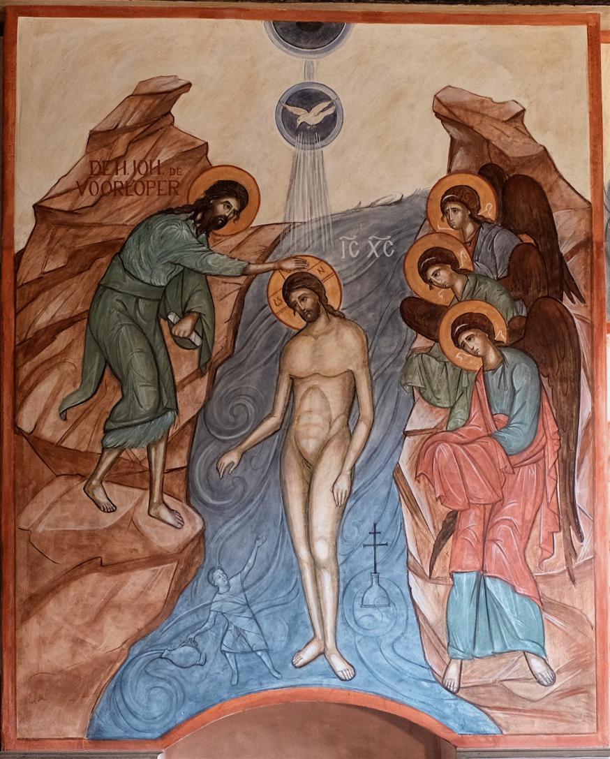 Fresco van de doop van Christus in de orthodoxe Andreaskerk, Gent  © Jean-François Limpens