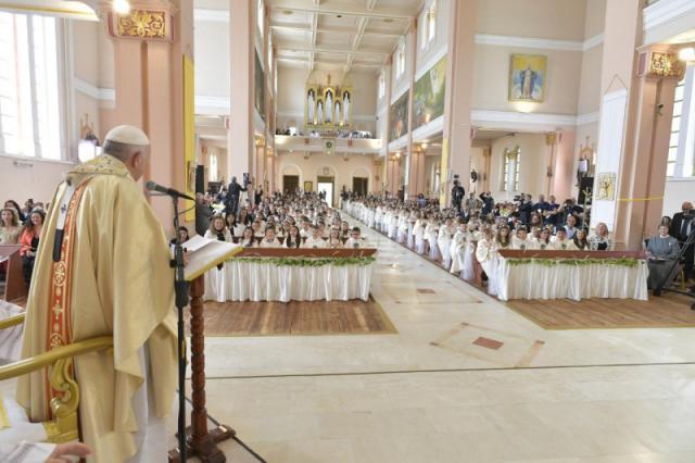 Paus Franciscus was zichtbaar opgewekt © Vatican Media