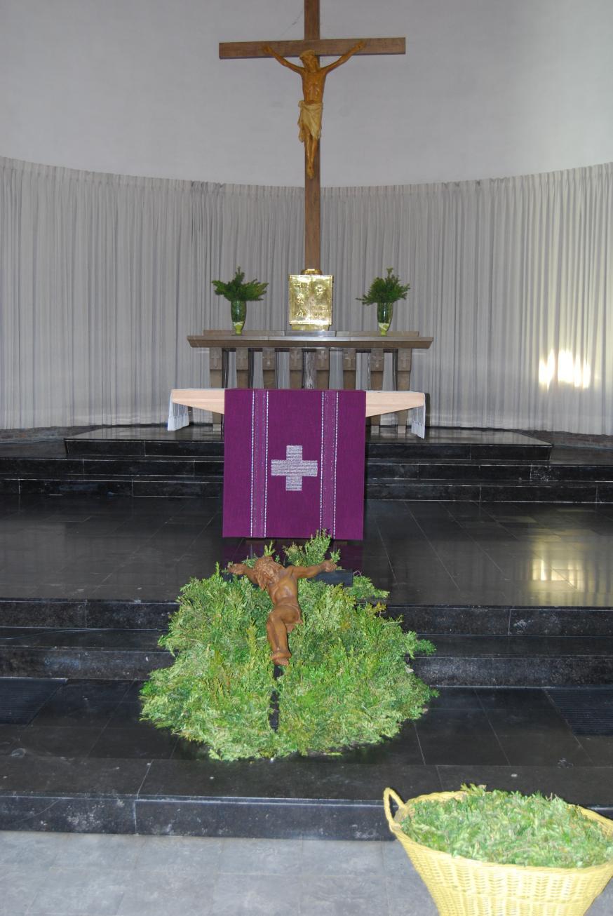 Met palm werd Jezus eer gebracht in de Knokse kerk.  © D.D.