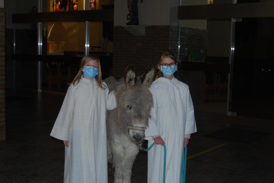 Misdienaars Manon en Elene waren helemaal fan van Bijbel en poseerden dan ook maar al te graag met deze ezel die helemaal niet koppig is.  © Kerk in Zwevegem / Communicatie / Palmzondag 2021