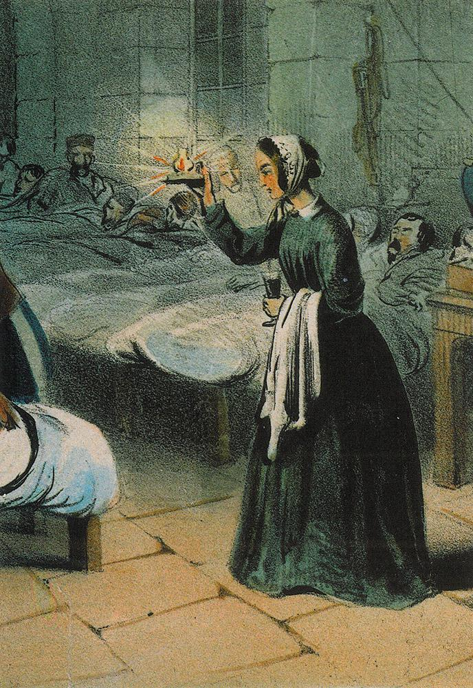 'Lady with the lamp', Florence Nightingale aan het werk in de legerkazerne van Scutari tijdens de Krimoorlog. Door J.A. Benwell, 1855. © WikiCommons