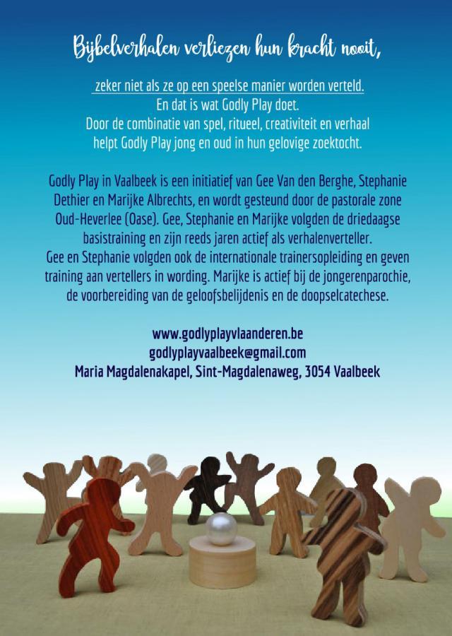 Flyer van het open Godly Play aanbod voor kinderen en volwassenen in Vaalbeek © Godly Play Vaalbeek