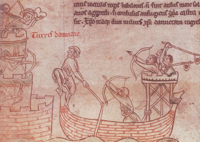 Friezen vallen de toren van Damietta aan. Uit het 13de-eeuwse verslag van de Engelse kroniekschrijver Matthew Paris.