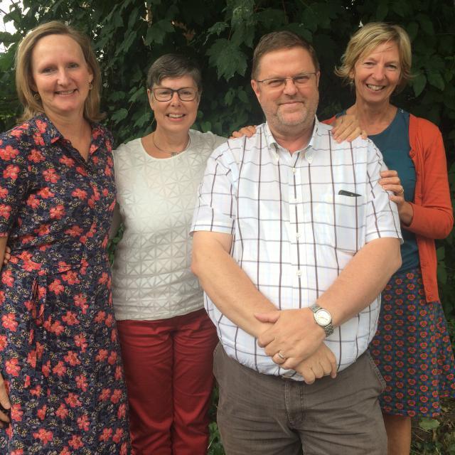 v.l.n.r.  Bernadette Wittoek, Katrien Tonnard, Chrétien Vermachelen, Myriam De Backer