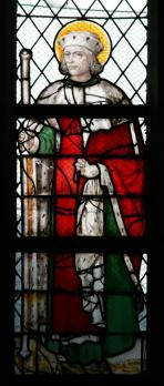 Gummarus als edele op een glasraam in de kooromgang van de Sint-Gummaruskerk