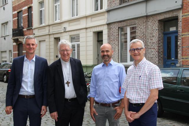 Philip Machiels, Mgr Van Looy, Bert Van den Broele en Alexis Versele © Bisdom Gent, foto: Ellen Eeckhout