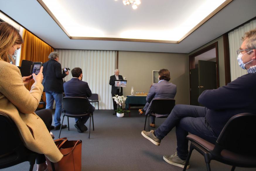 Mgr. Hoogmartens bij de inhuldiging van het nieuwe bestuursgebouw. © Jente Vandewijer