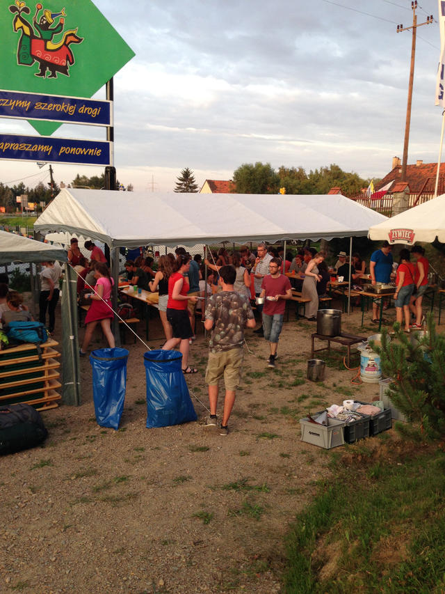 avondmaal op de camping in Krakau