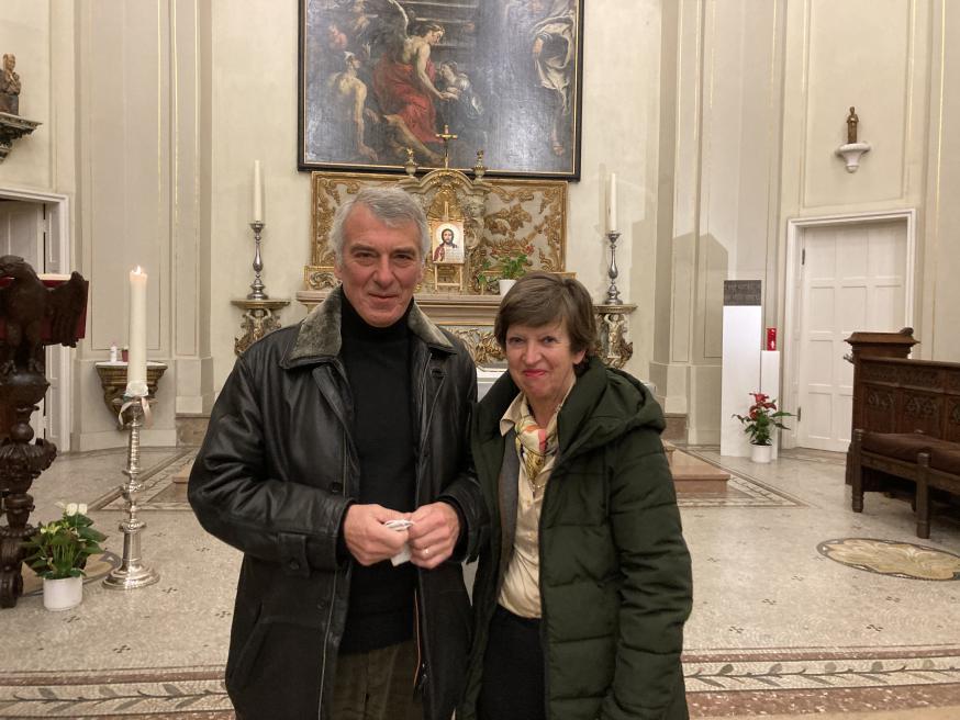 Marie-Anne en Marc vlak na hun aanstelling in de kapel van het pastoraal centrum in Mechelen