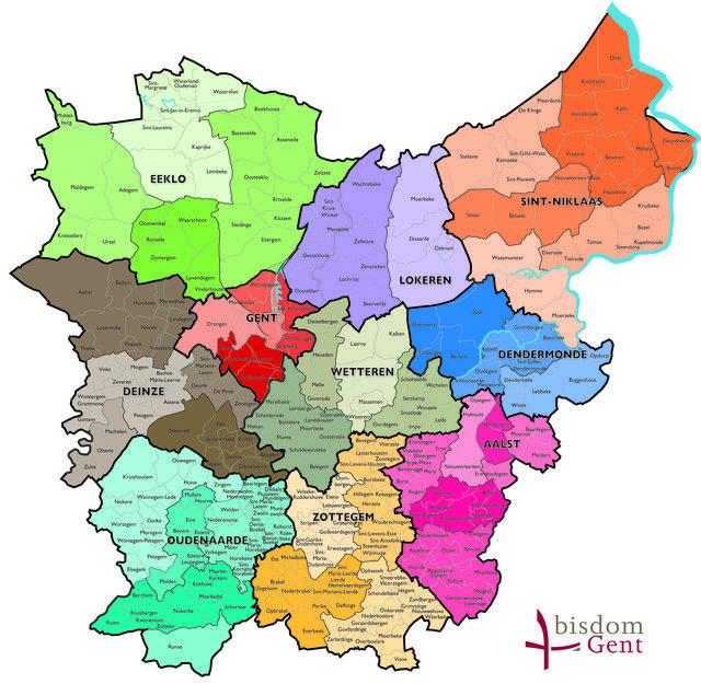 Kaart van het bisdom Gent © Bisdom Gent