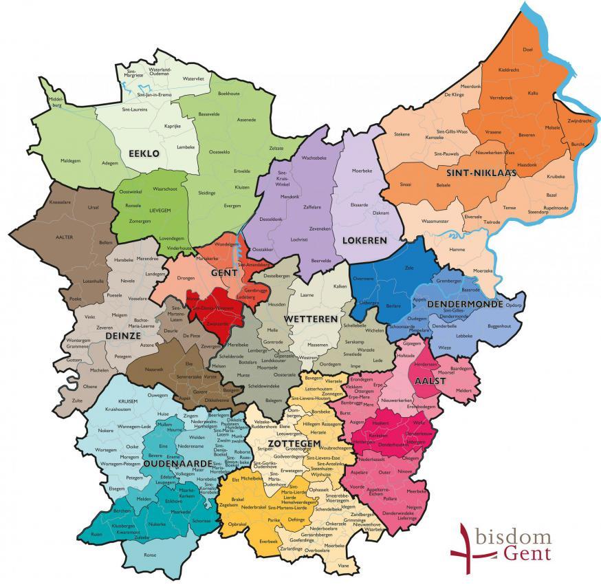 Bisdom Gent - dekenaten en nieuwe parochies © Bisdom Gent