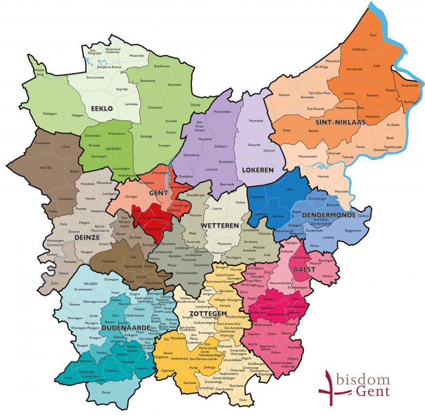 Kaart bisdom Gent (jan 2019) © Bisdom Gent