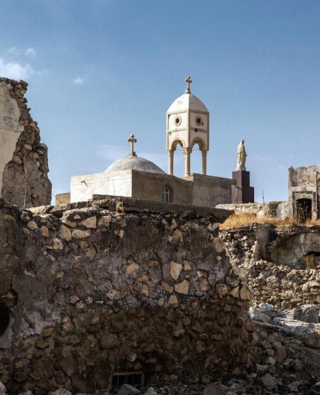 Deze klokkentoren kreeg IS nooit kapot. © Mo* / Karim Abraheem
