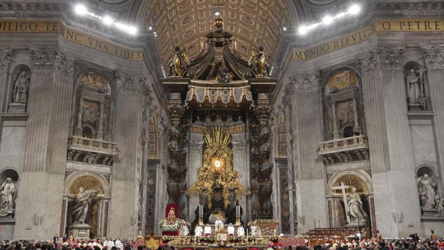 Paus Franciscus  tijdens de middernachtmis in de Sint-Pietersbasiliek © Vatican Media