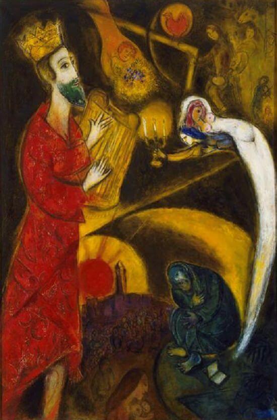 Koning David: krijger, dichter en muzikant, vrouwenverslinder. Door Marc Chagall, 1962. © MarcChagall.net