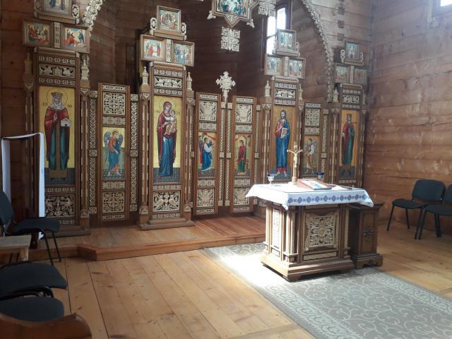Krekhiv - binnenzicht houten kerk © CCV Gent, foto: Dieter Van Belle