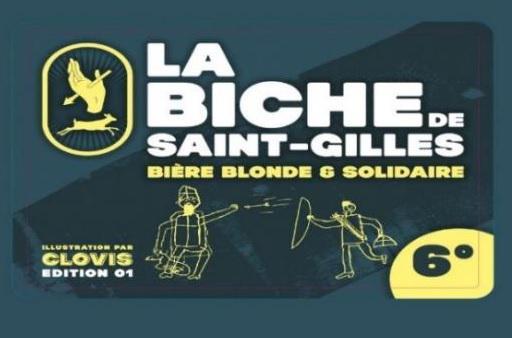 Het etiket van de 'Biche de Saint-Gillese' met de tekening van Clovis © Vicariaat Brussel