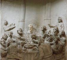 Detail van het Laatste Avondmaal, nu opnieuw met het hoofd van Christus