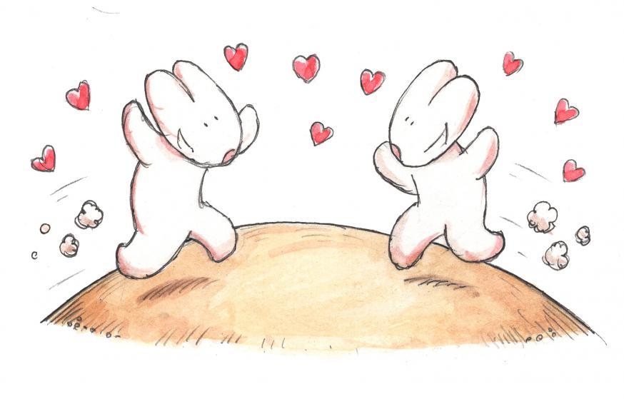 Liefde is: verlangen naar elkaar © IDGP vzw, cartoon getekend door Joris Snaet