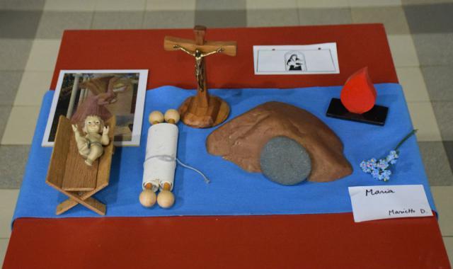 Het Godly Play vertelmateriaal van het verhaal over Maria © Hilde Pex
