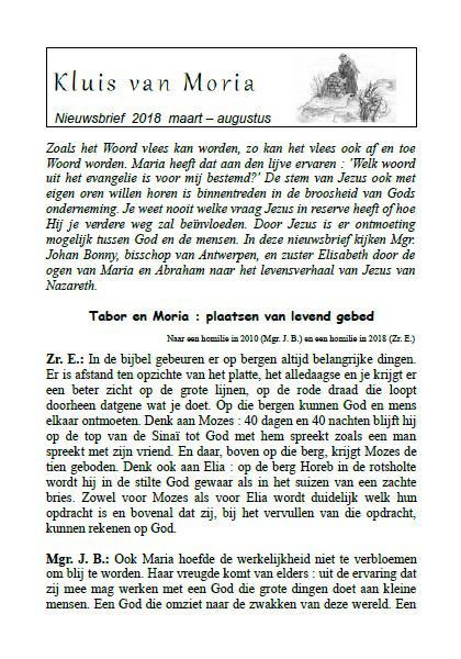 Nieuwsbrief maart-augustus 2018 © Kluis van Moria vzw