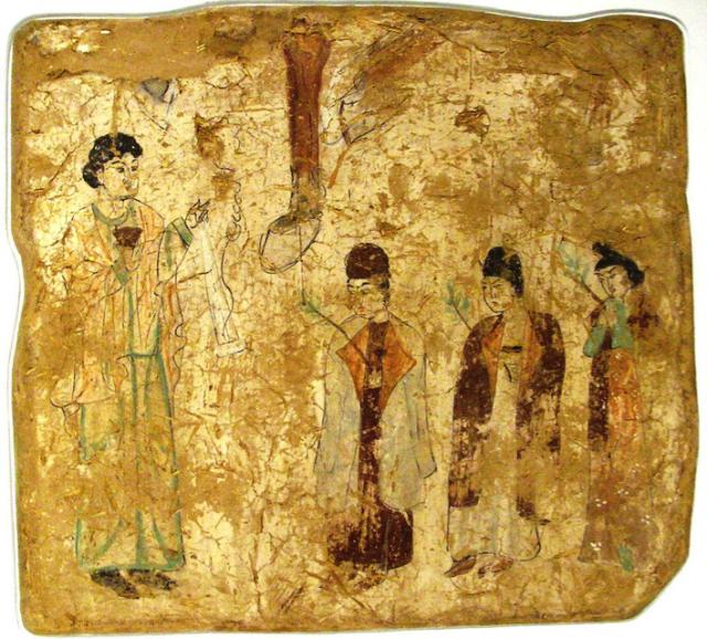Nestoriaanse priesters in processie op Palmzondag, China Tang dynastie, (7de of 8ste eeuw).