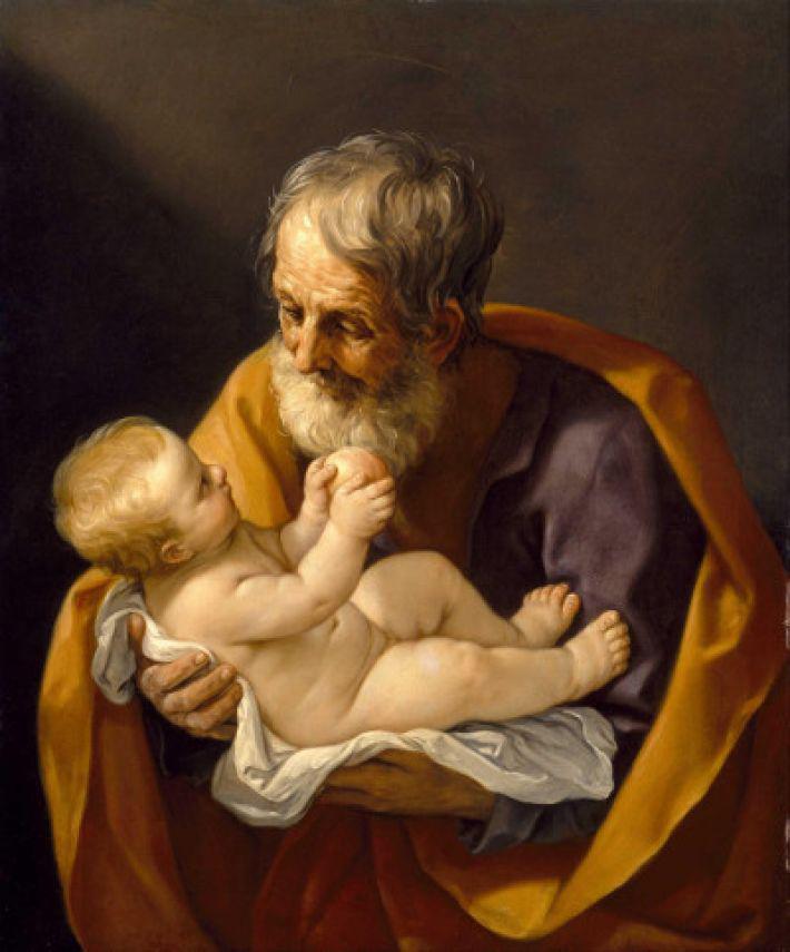 Sint-Jozef met Christuskind van Guido Reni © https://www.parochielaarnewetteren.be/nieuws/sint-jozef-een-zorgzame-papa